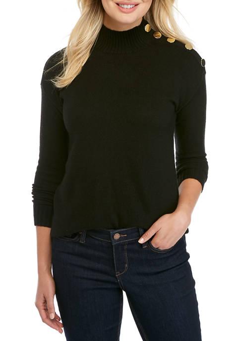 Kim Rogers® Womens Long Sleeve Button Mock Neck