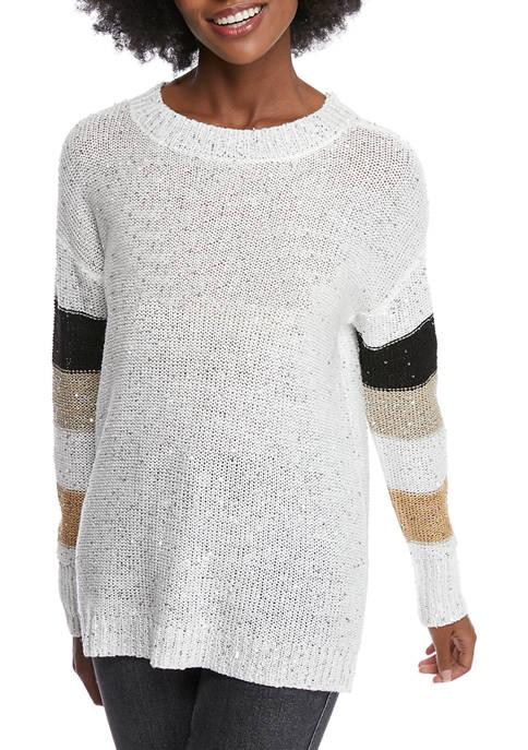 Kim Rogers® Womens Long Sleeve Color Block Sweater