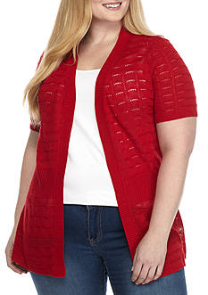 Kim Rogers® Plus Size Short Sleeve Open Front Cardigan