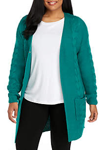 Plus Size Ottoman Cable Cardigan
