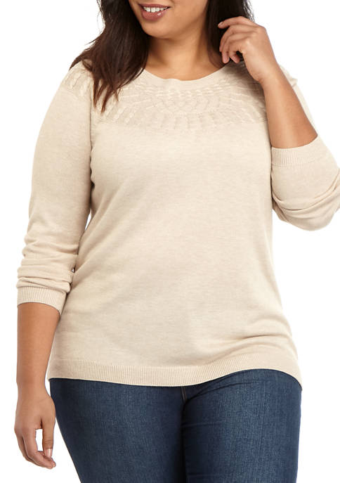Kim Rogers® Plus SIze Yoke Cable Sweater