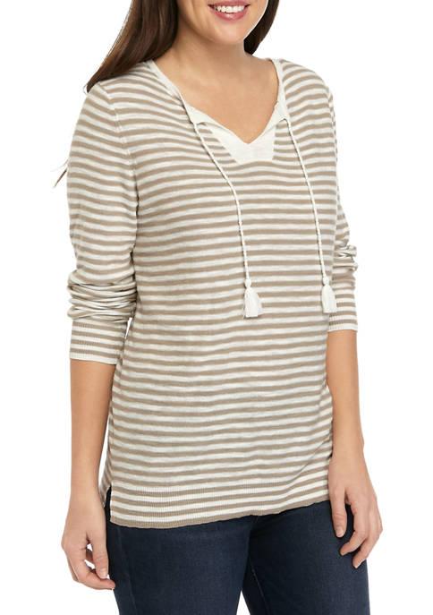 Petite Popover Tassel Striped Sweater