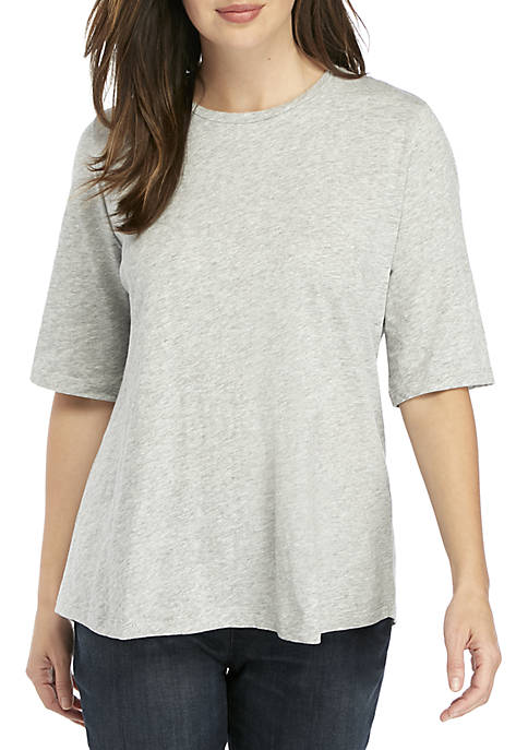 Eileen Fisher Elbow Sleeve Slub Jersey Tee