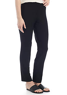Petite Slim Ankle Pants With Yoke