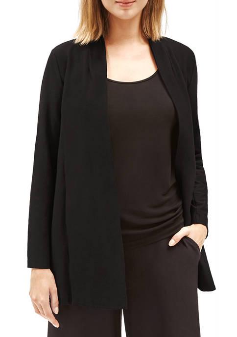 Eileen Fisher Womens Long Wiash Crepe Open Jacket