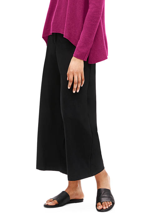 Eileen Fisher Womens High Waist Wide Leg Crepe
