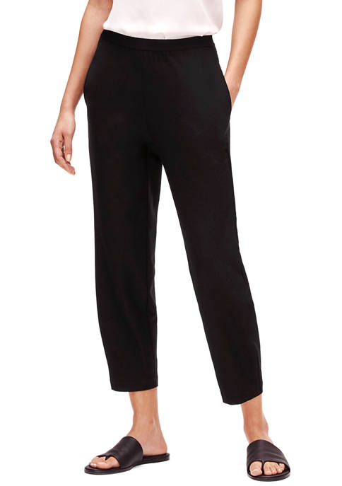 Eileen Fisher Womens Washed Crepe Tapered Ankle Pants