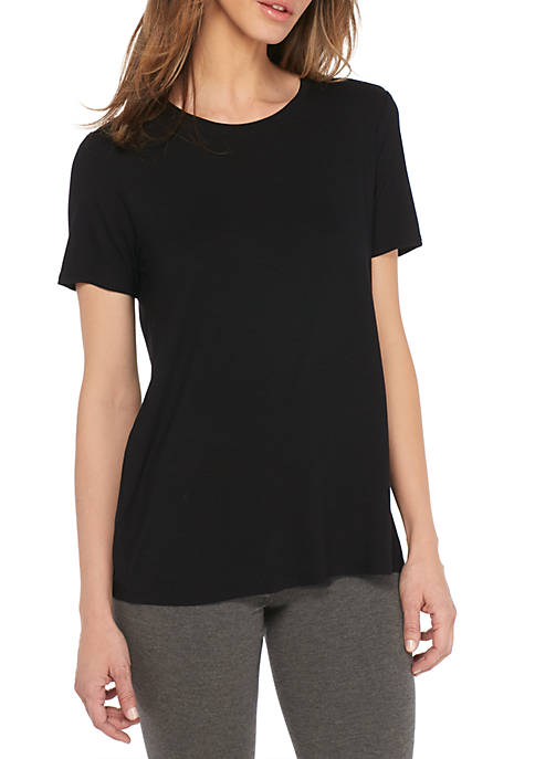 Eileen Fisher Round Neck Cap Lightweight Viscose Jersey