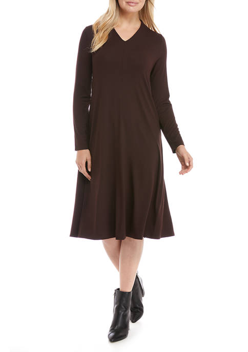 Eileen Fisher Womens V-Neck Calf Length Dress