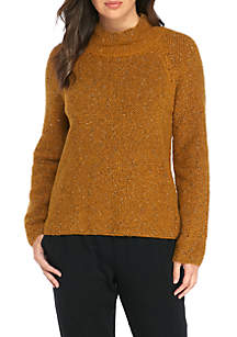 Funnel Neck Tweed Boucle Box Top