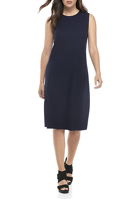 Eileen Fisher Round Neck Jersey Wool Dress