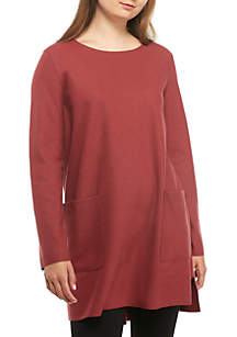 Jewel Neck Boxy Jersey Tunic