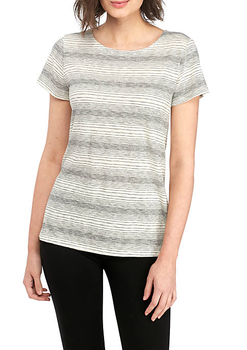 Eileen Fisher Jewel Neck Short Sleeve Tee