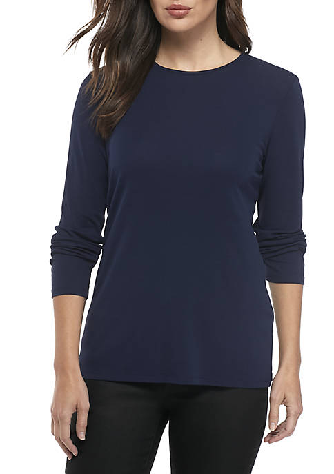 Eileen Fisher Crew Neck Silk Jersey Top