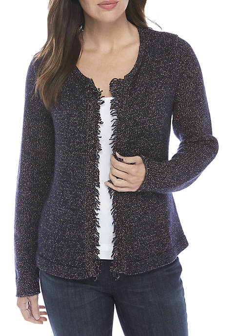 Eileen Fisher Round Neck Wool And Twill Cardigan