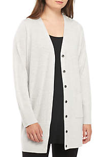 V-Neck Cardigan With Snaps