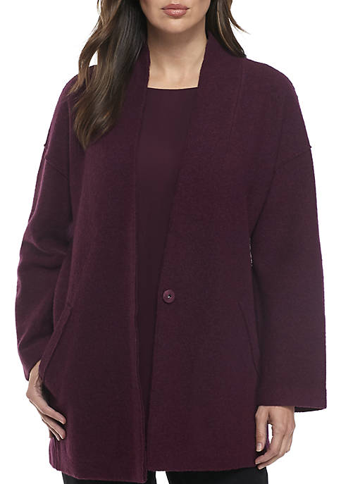 Eileen Fisher Kimono Boil Wool Lightweight Jacket