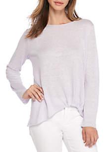 Organic Linen Knit Jewel Neck Twist Top