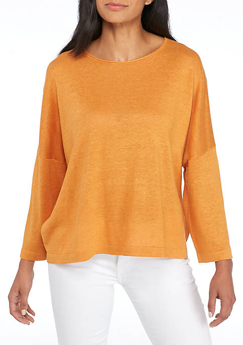 Eileen Fisher Organic Linen Knit Jewel Neck Twist