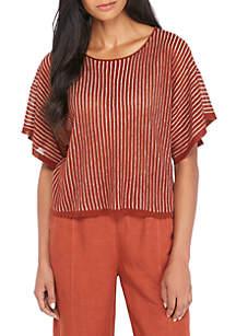 Jewel Neck Short Sleeve Organic Linen Top