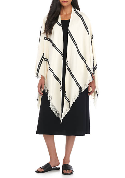 Eileen Fisher Double Stripe Organic Cotton Poncho