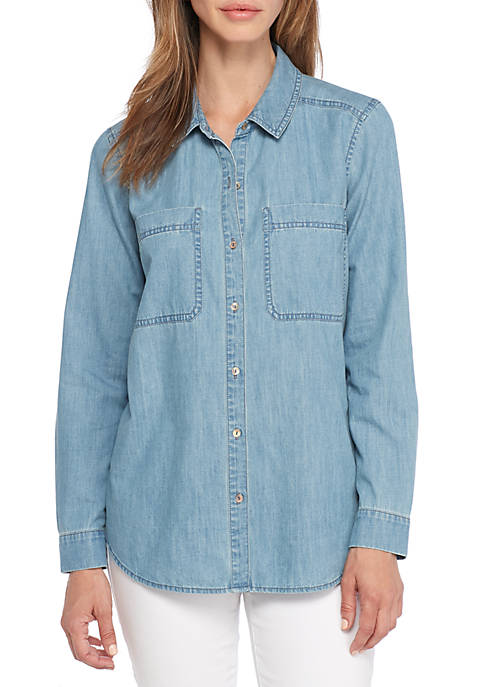 Eileen Fisher Classic Collar Short Denim Blouse