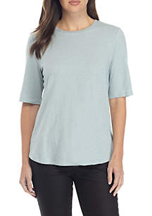 Round Neck Elbow Sleeve Top