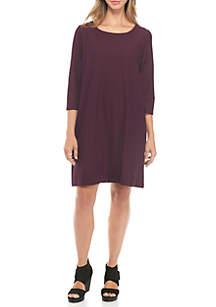 Scoop Neck Knee Length Lightweight Crepe Dress