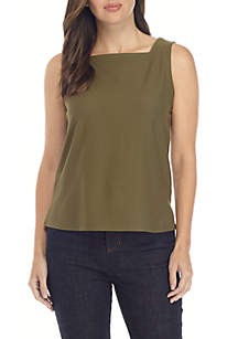 Square Neck Lightweight Crepe Shell
