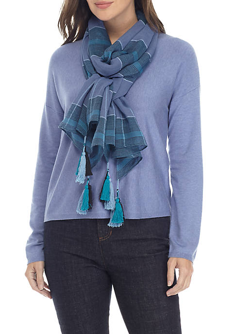 Eileen Fisher Organic Cotton And Tencel Grid Scarf