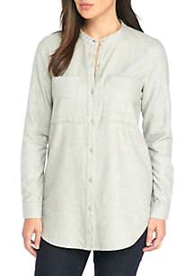Mandarin Collar Flannel Twill Shirt