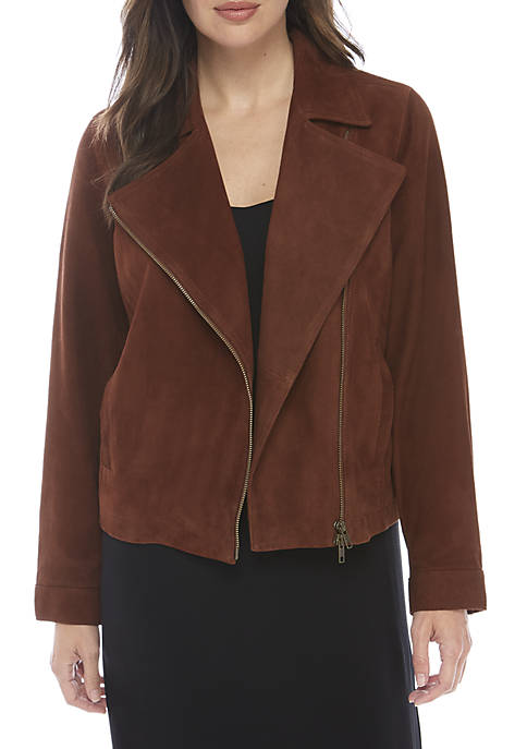Eileen Fisher Stand Collar Zip Suede Jacket