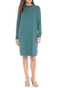 Mock Neck Knee Length Lightweight Jersey Dress