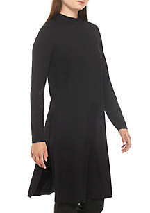 Mock Neck Lightweight Jersey Tunic Dress