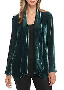 Angled Shape Velvet Jacket