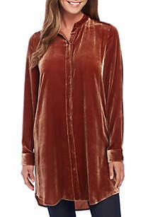 Mandarin Collar Long Sleeve Velvet Shirt