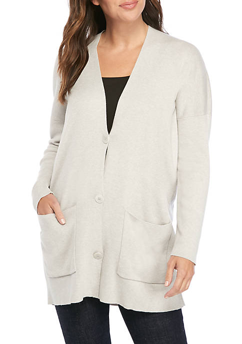 Eileen Fisher V Neck Pocket Boyfriend Cardigan