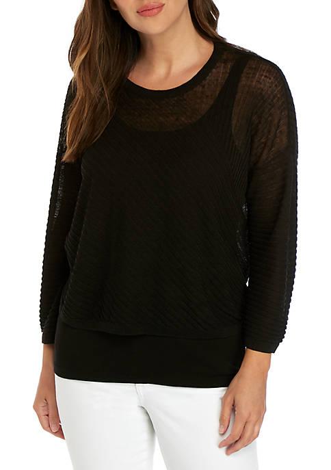 Textured Round Neck Dolman Sleeve Sweater