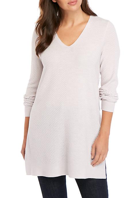 Ribbed V Neck Tunic Sweater