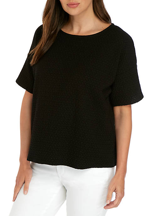 Eileen Fisher Chevron Texture Ballet Neck Top