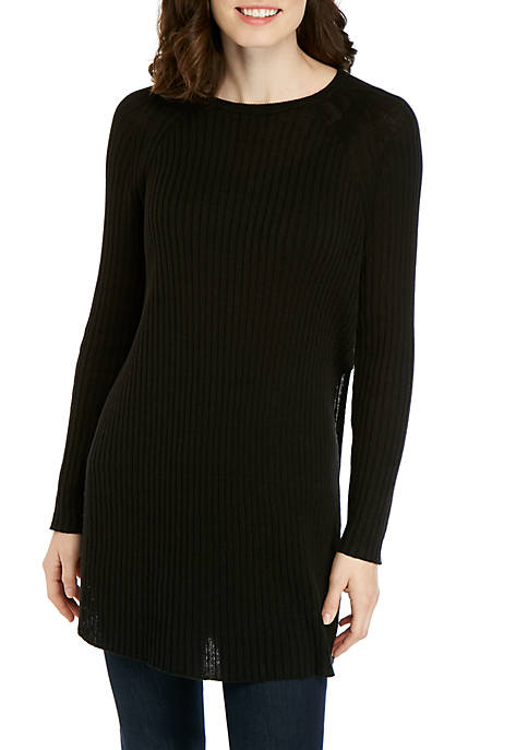 Ribbed Round Neck Tunic Sweater