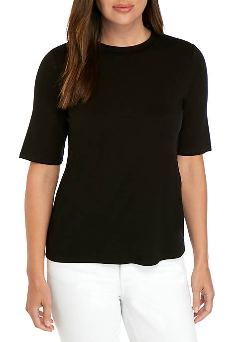 Eileen Fisher Elbow Sleeve Mock Neck Top