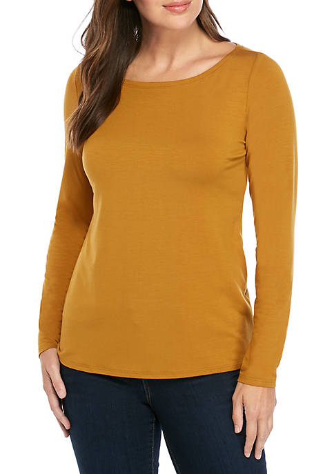 Eileen Fisher Boat Neck Slim Jersey T Shirt