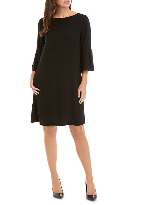 Boat Neck Bell Sleeve Dress