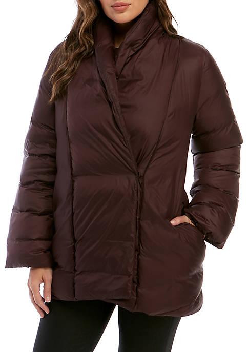 Eileen Fisher Womens Shawl Collar Puffer Jacket