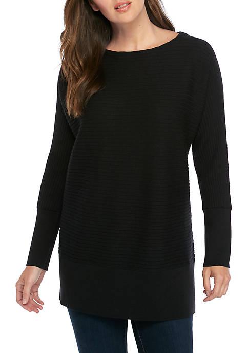 Eileen Fisher Boat Neck Rib Wool Tencel Sweater