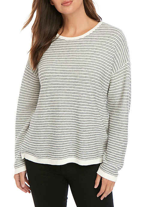 Stripe Long Sleeve Crew Neck Sweater