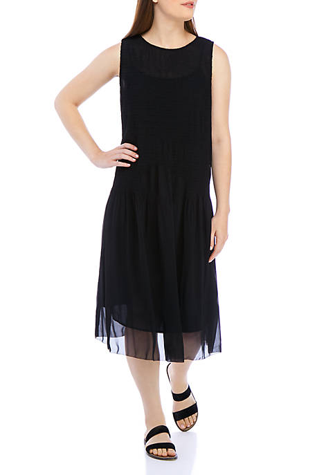 Eileen Fisher Round Neck Crinkle Polyester Dress