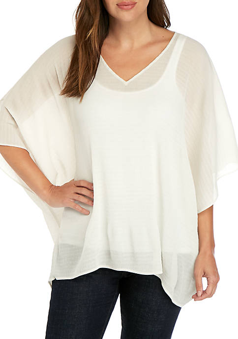 Pleated Poncho Blouse