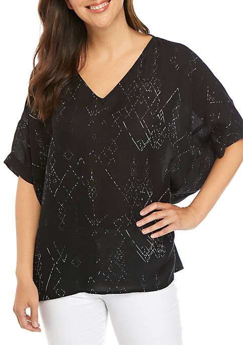 Eileen Fisher Printed Silk V Neck Wedge Blouse